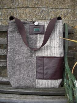 Handwoven wools and cowhide