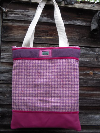 Heavy wool check with cerise leather