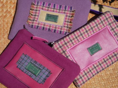 Pink and purple medium wool purses