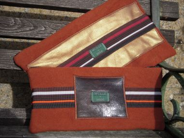 Rust wool with Paris stripe grosgrain trim